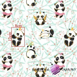 Cotton shiny gold crazy panda on a white background