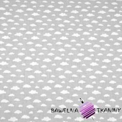 Bawełna chmurki MINI białe na szarym tle