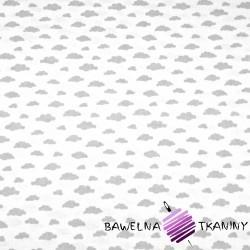 Bawełna chmurki MINI szare na białym tle