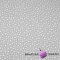 Bawełna gwiazdki MINI białe na szarym tle
