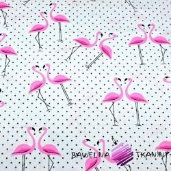 Bawełna flamingi z kropkami czarnymi na białym tle