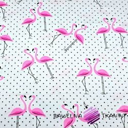 Cotton pink flamingos with black dots on a white background