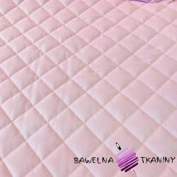 Velvet pikowany jasny róż - kwadraty