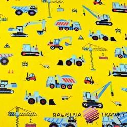 Bawełna Roboty budowlane niebieskie na żółtym tle
