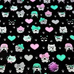 Cotton mint-pink pets on black background