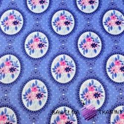 Bawełna lusterka z kwiatami na niebieskim tle