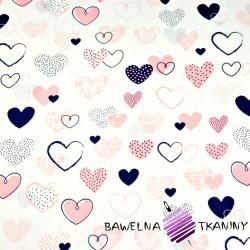 serca wzorzyste różowo granatowe na białym tle