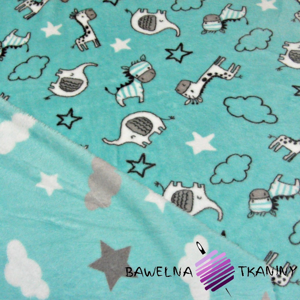 Fleece plus PREMIUM two-sided animals, clouds and stars on mint background