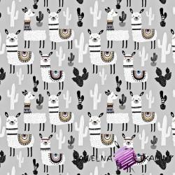 Bawełna alpaki z kaktusami na szarym tle