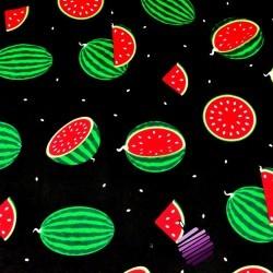 Bawełna arbuzy zielone na czarnym tle