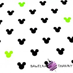Bawełna MIKI czarno zielone na białym tle