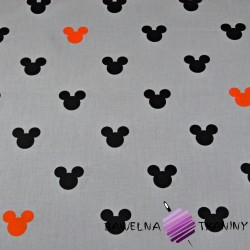 Cotton black & orange mickey mouse on gray background