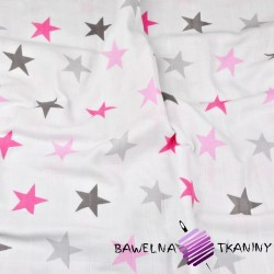 Double gaze cotton pink and gray stars on white background