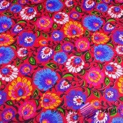 Cotton folk pattern on amaranth background