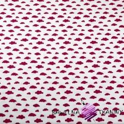 Bawełna chmurki MINI bordowe na białym tle