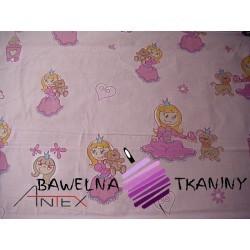 Bawełna Księżniczki na różowym tle