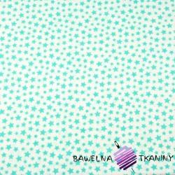Bawełna gwiazdki MINI miętowe na białym tle