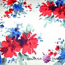 Bawełna kwiaty malowane niebiesko czerwone