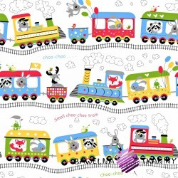 Cotton colorful choo-choo on white background