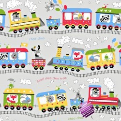 Cotton colorful choo-choo on gray background
