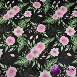Bawełna kwiaty eustoma różowa na czarnym tle