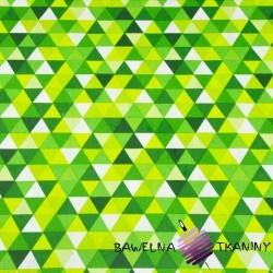 Bawełna trójkąty małe kolorowe zielono limonkowe na białym tle