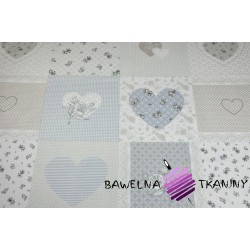 Cotton beige & blue hearts & flowers patchwork