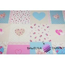 Bawełna patchwork serca i kwiaty różowo niebieskie