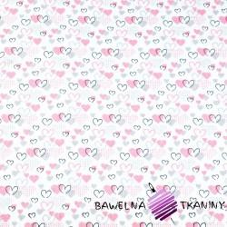 serduszka MINI różowo szare na białym tle