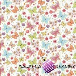 Bawełna motylki pastelowe