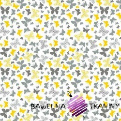 Bawełna motylki żółto szare na białym tle