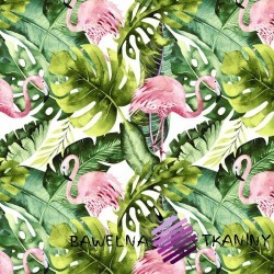 Cotton flamingos in the monstera leaves