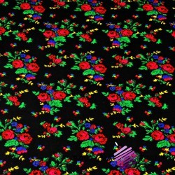 Cotton krakow folk pattern on black background