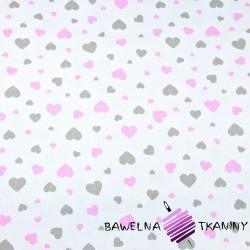 Bawełna serduszka różowo szare na białym tle