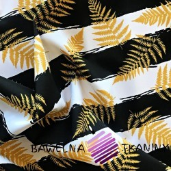waterproof fabric with golden fern leaves on white and black stripes background