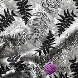 waterproof fabric leaves of ferns on a gray background