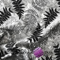 wodoodporna tkanina liście paproci na szarym tle