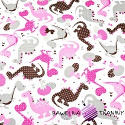 Cotton Pink patterned dinosaurs on a white background