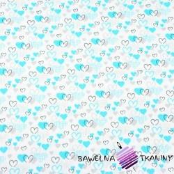 Bawełna serduszka MINI turkusowo szare na białym tle
