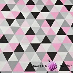 Bawełna trójkąty duże szaro różowe na białym tle