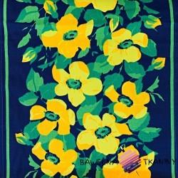 Tkanina leżakowa kwiatki żółte na granatowym tle