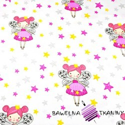 Cotton Tinker-bell with stars on white background