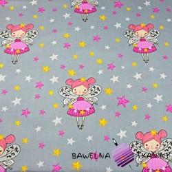Bawełna dzwoneczki z gwiazdkami na szarym tle