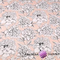 Bawełna kwiaty  biało czarne na łososiowym tle