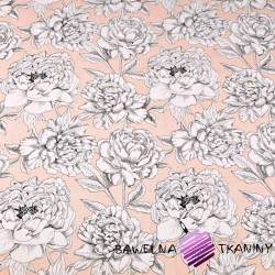 Cotton black & white flowers on salmon background