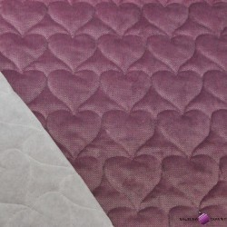 velvet dark dirty pink quilted in hearts