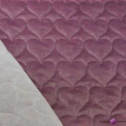 Velvet pikowany ciemny brudny róż - serduszka