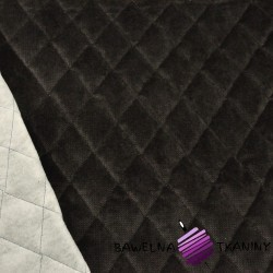 Velvet pikowany ciemny brąz - romby