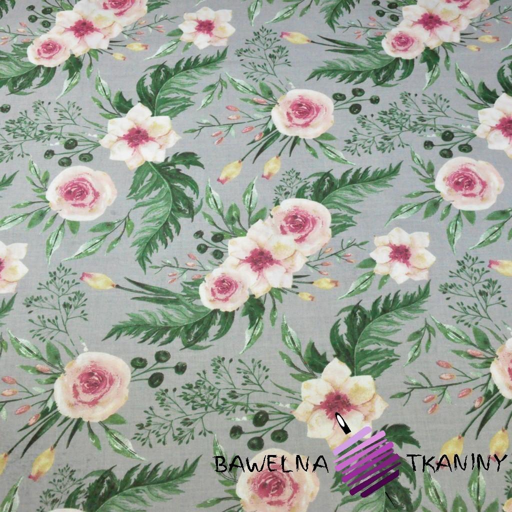Bawełna kwiaty eustoma różowa na szarym tle