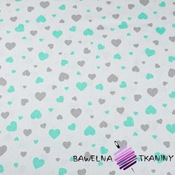 Cotton mint & gray hearts on white background
